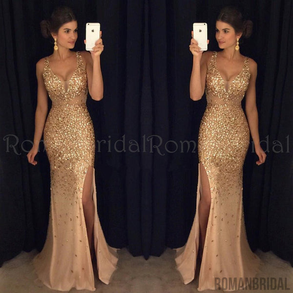Amazing Floor-length Sexy Deep V-neck Beading evening dresses, Slits in front long prom dresses, PD0493