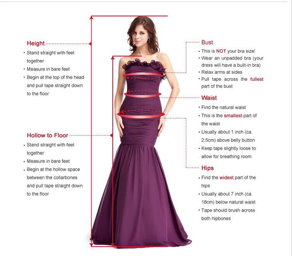 A-line Floor-length Deep V-neck Beading Top Prom Dress, PD0639