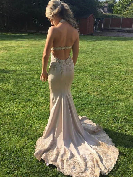 Halter Mermaid V-neck Lace Appliques Beakless Prom Dresses With Train, PD0770