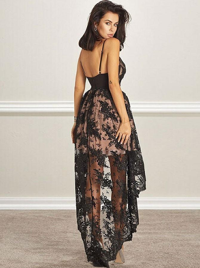 New Arrival Deep V-neck Black Lace Backless Homecoming Dresses, HD0476
