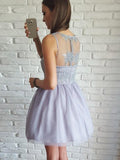 New Arrival V-neck Sleeveless Appliques Top Tulle Skirt Homecoming Dresses, HD0449