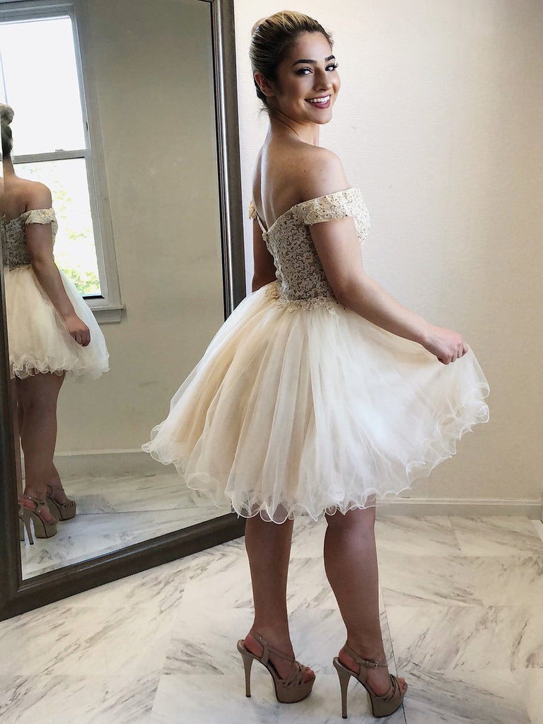 Newest Off-shoulder Lace Appliques Tulle Skirt Short Homecoming Dresses, HD0487