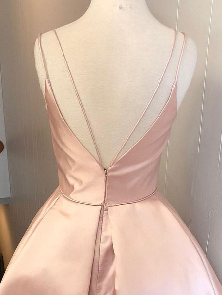 Hot Selling Spaghetti Straps V-neck Pink Simple Homecoming Dresses, HD0472