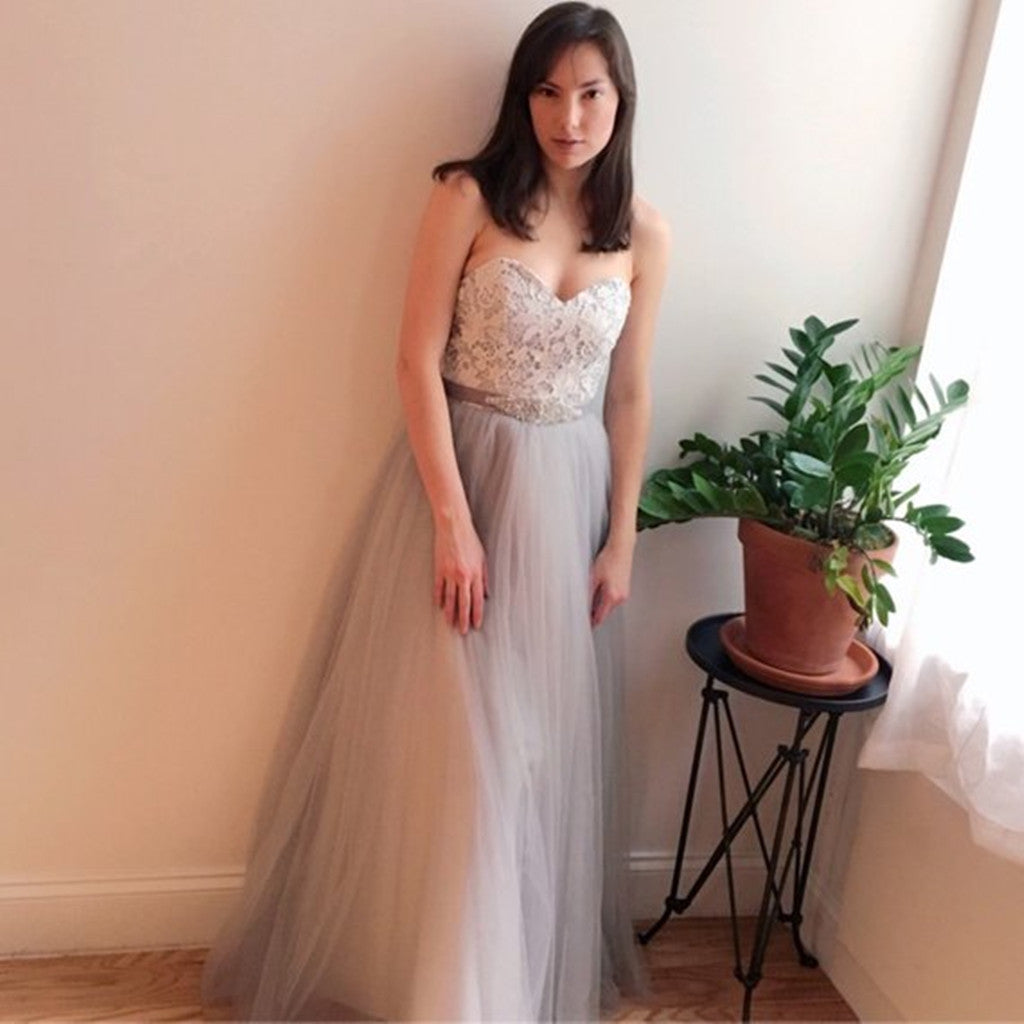 Floor-length Sweetheart Gray Lace Top Strapless Tulle skirt Wedding Dress, WD0382
