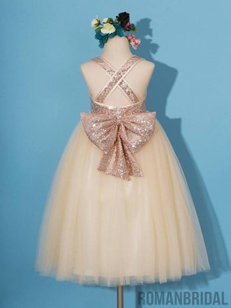 Rose gold sequins dress, pageant dress, rose gold flower girl dress, champagne tulle Flower girl dresses, FG0114