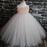 Pink Blush shabby chic rose tulle princess puffer Dress, Flower Girl Dress, FG0117