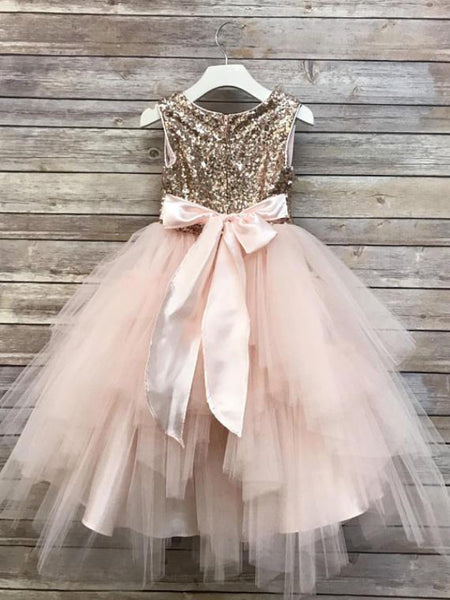 Sequin Top Rose gold Flower Girl Dress, Champagne and Ivory tutu flower girl dresses, FG0126