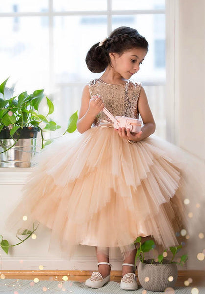 b985cd8f13b Sequin Top Rose gold Flower Girl Dress