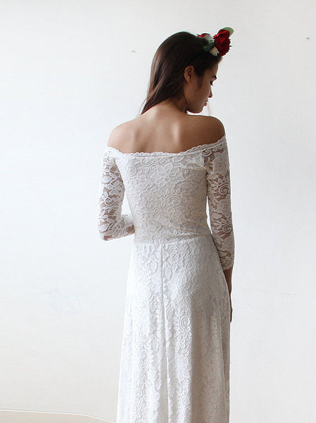 Off-shoulder A-ling Floor-length Full Lace Long sleeves Beach Wedding Dress, WD0383