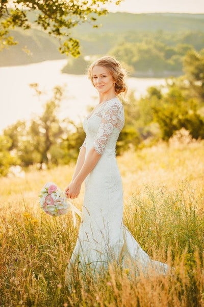 Mermaid V-neck 3/4 sleeves Open-back Country style Wedding Dress With Train, WD0384