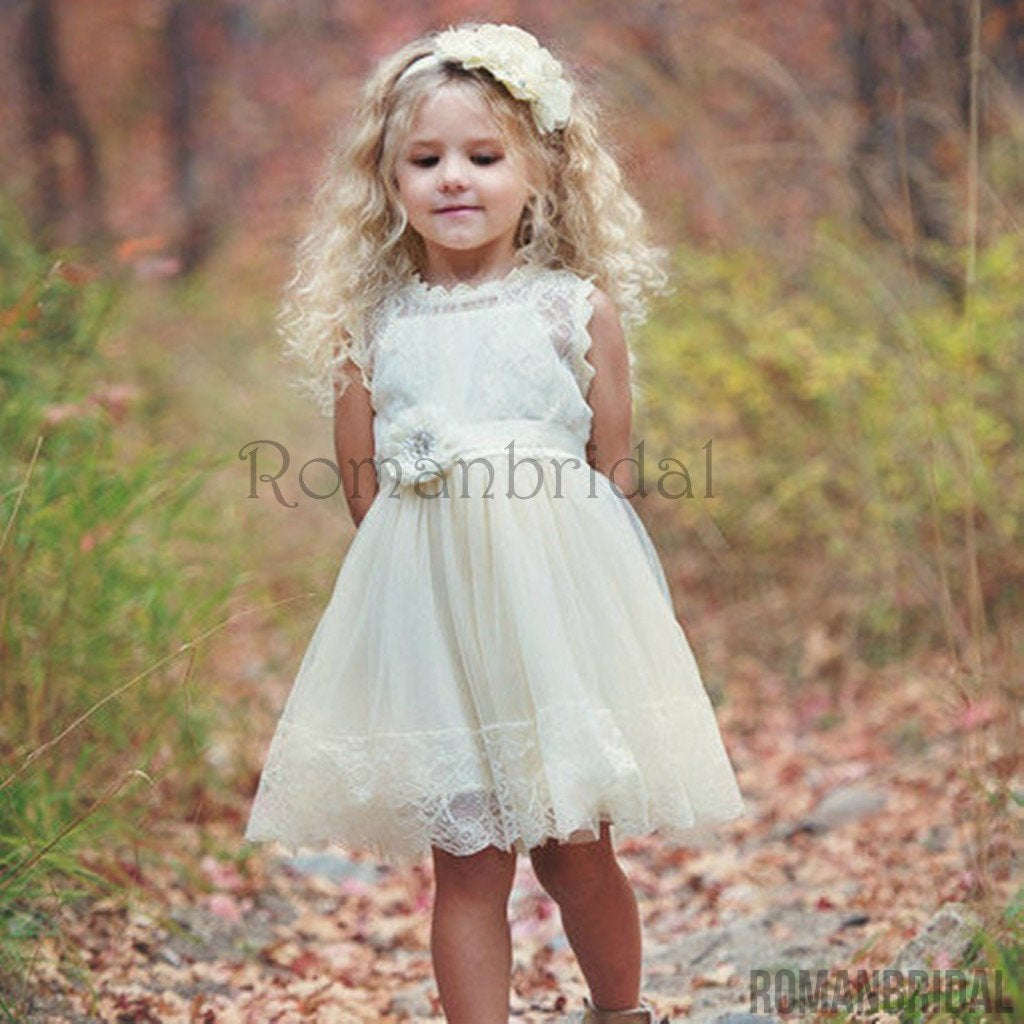 Amazing Flower girl dress, lace flower girl dress, country flower girl dress, rustic flower girl dress, baby dress, ivory lace dress, FG0110