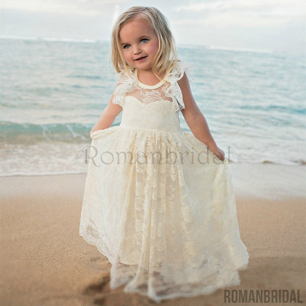 New Arrival Boho Flower Girl Dress Lace Flower Girl Dress Flower New Arrival Girl Dresses Lace Baby Dress Country Flower Girl Dress Lace Rustic Flower Girl Dress, FG0111