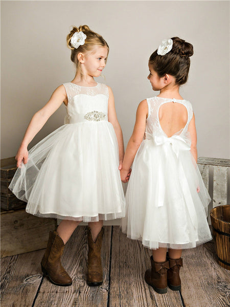 A-line Round Neck Lace Top Open-back Flower Girl Dresses, FG0154
