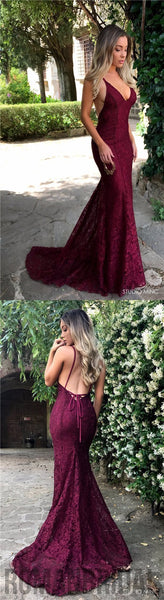 2018 Trumpet  With Trailing, Red Sexy V-neck, Lace Sling prom dress ,  party dress , PD0401
