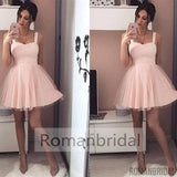 2018 Charming Sweetheart Straps Short Light Blush Pink Tulle A Line Homecoming Cocktail Dress, HD0306