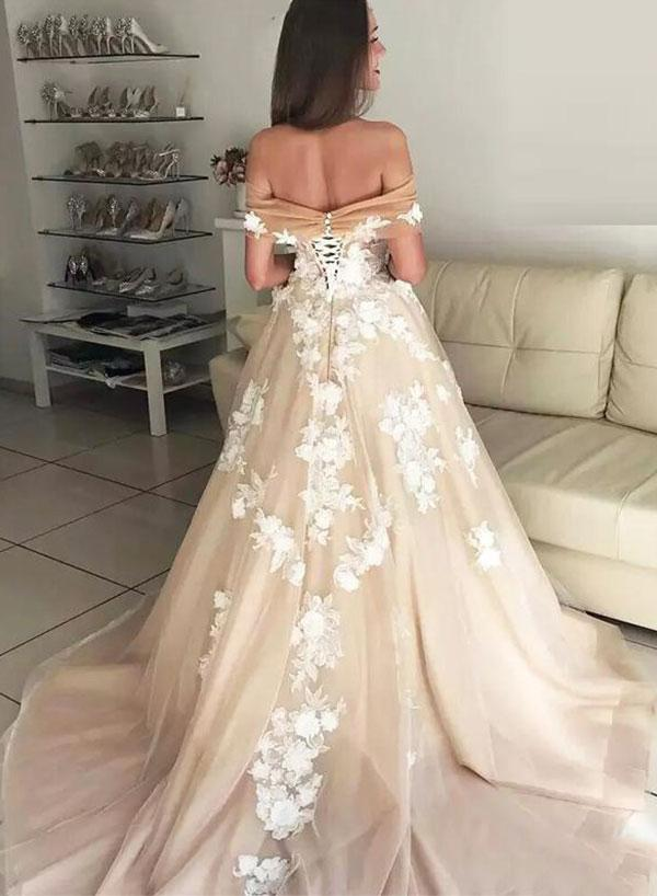 Off-shoulder Appliques Long Tulle Evening Prom Dress, PD0729