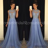Lace Applique Beads Crystal Formal Long Bridesmaid Dresses A Line Crew Neck Zip Back Chiffon Party Evening Gowns, Long Prom Dresses, PD0464
