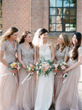 A-line V-neck Short Sleeves Sequins Long Tulle Bridesmaid Dresses, BD0573