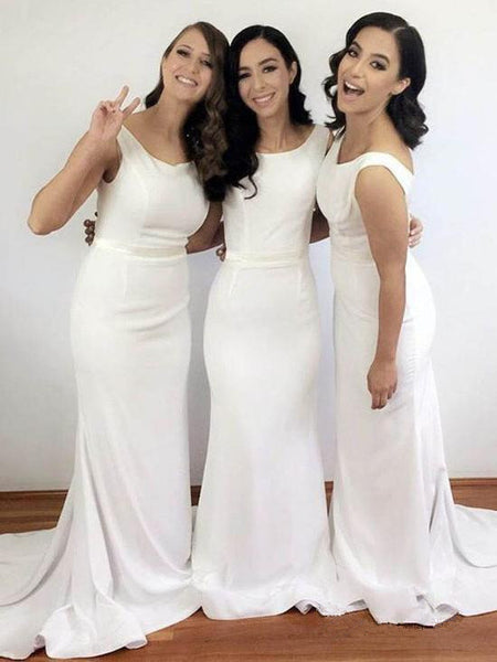 Mermaid Simple Cheap Long Satin Bridesmaid Dresses With Train, BD0574