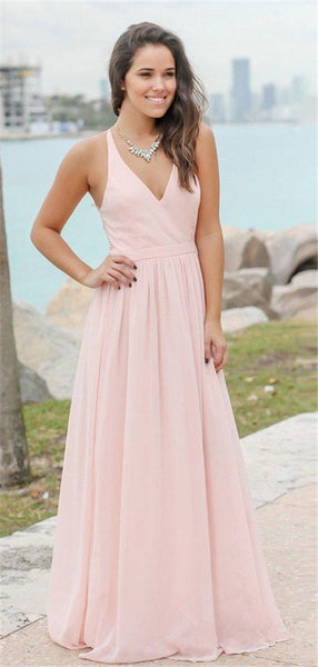 A-line V-neck Lace Back Long Cheap Bridesmaid Dresses, BD0575