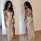 New Arrival Floor-length Spaghetti Strap Sexy V-neck sequins high split prom dresses,  PD0535