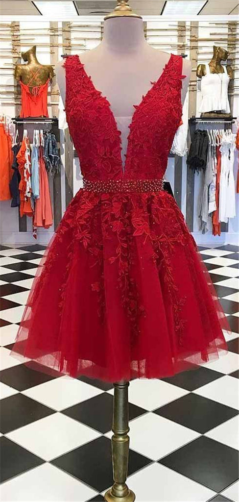 A-line Deep V-neck Lace Appliques Beading Tulle Homecoming Dresses, HD0536