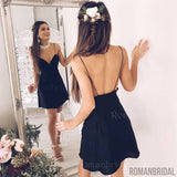 A-Line Spaghetti Straps Backless Short mini V-neck Black Homecoming Dress, HD0315