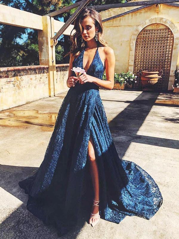 Navy Blue V-neck Lace Long Backless Prom Dress With Split, PD0733