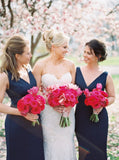 Sheath V-neck Floor-length Navy Blue Simple Bridesmaid Dresses, BD0570