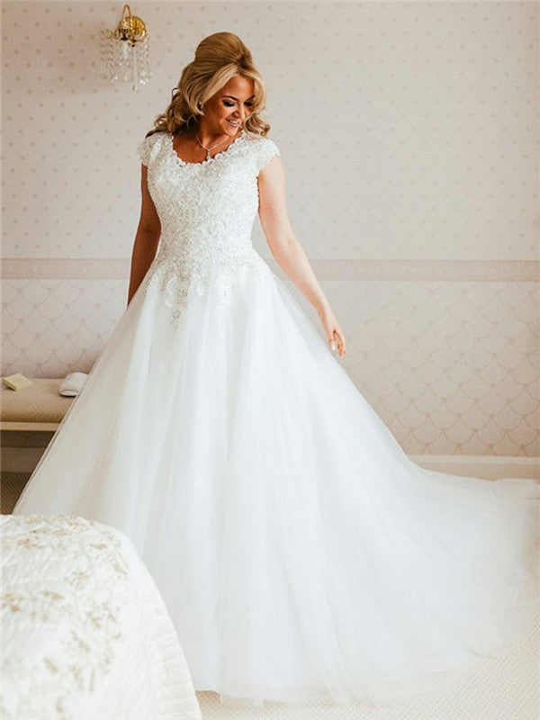 A-line Round Neck Cap Sleeves Lace Top Tulle Wedding Dresses, WD0447