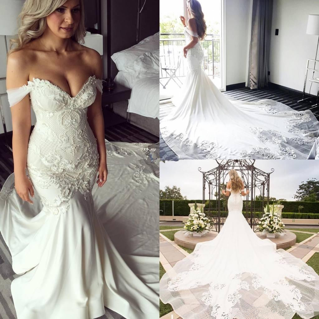 Elegant Modest Mermaid Off Shoulder Lace Appliques Sexy Wedding Dresses with train, WD0354