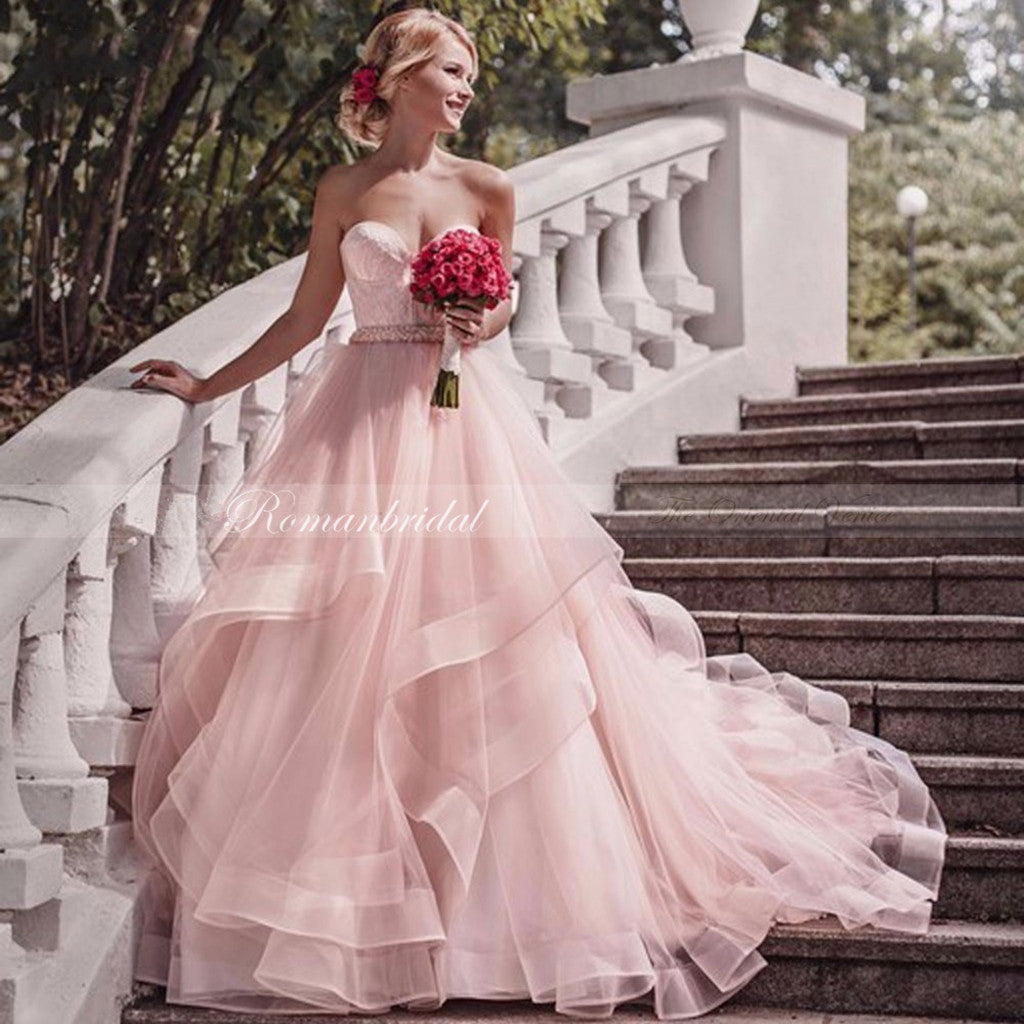 Popular Sweetheart Sleeveless Pink Organza Appliques Wedding Dresses, WD0393
