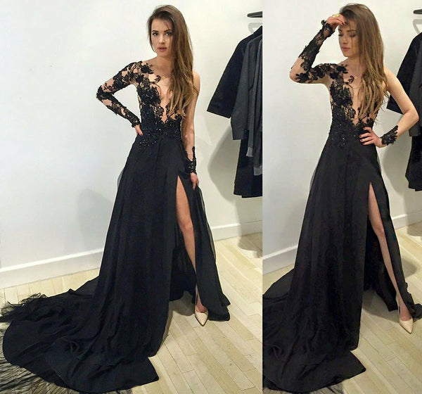 A-Line Tulle Long Sleeves High Split Lace Prom Dresses With Train, PD0542
