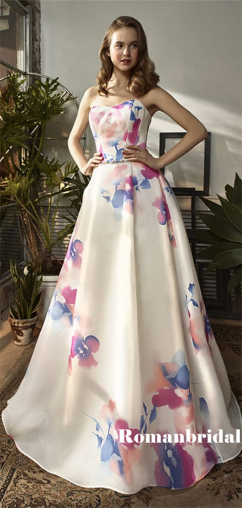 A-line Strapless Printed Chiffon Long Prom Dresses With Belt, PD0789
