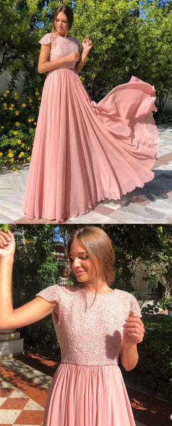 A-line Floor-length Backless Beading Long Prom Dresses, PD0674