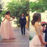 Floor-length Tulle Lace Appliques Formal Engagement Evening Dress, Off shoulder long prom dresses , PD0503