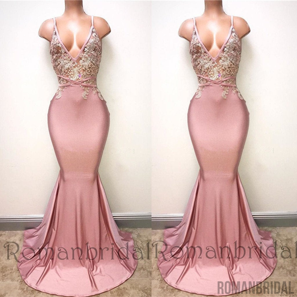 2018 V Neck Pink Evening Dress Straps Beads Appliques Mermaid Sexy Prom Long