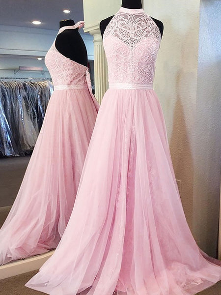 A-line Halter Sleeveless Tulle Lace Pink Backless Prom Dresses With Train, PD0546
