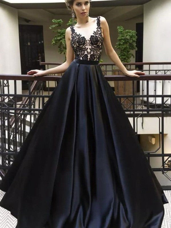 A-Line Sleeveless Lace Appliques Top Long Black Prom Dresses, PD0695