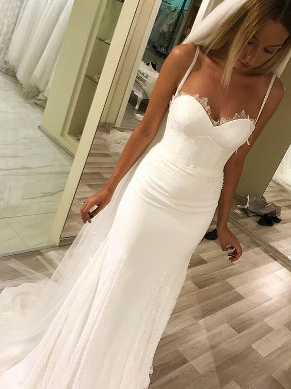 Elegant Spaghetti Straps Simple Beach Sweetheart Appliques Wedding Dresses, WD0390