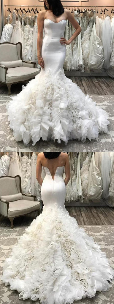 Popular Mermaid Sleeveless Sweetheart V back Wedding Dresses With Ruffles, WD0391