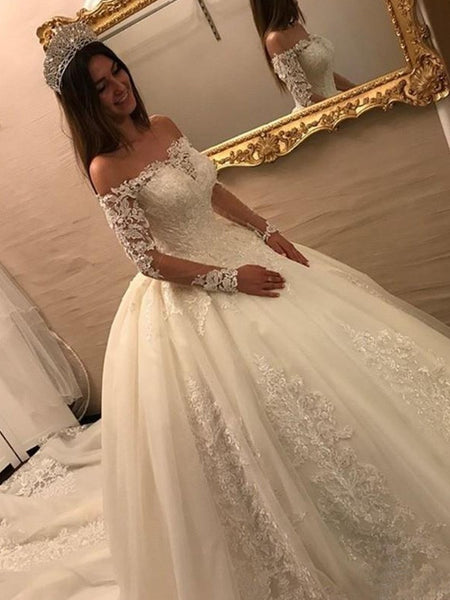 Lace Off-the-Shoulder Long Sleeves Bridal Gowns Wedding Dresses With Train, WD0392