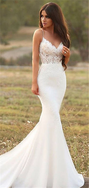 Spaghetti Straps Mermaid V-neck Appliques Wedding Dresses, WD0455