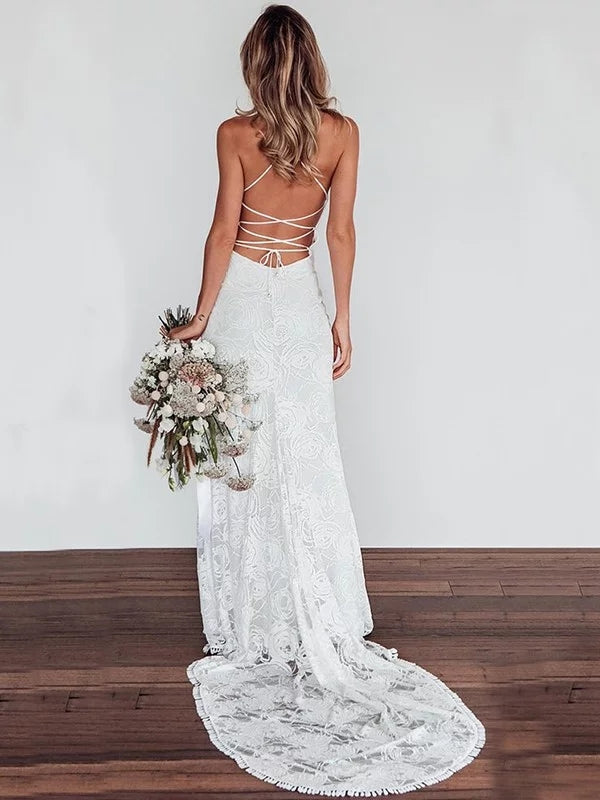 Sheath V-neck Lace up Back Sexy Wedding Dresses With Train, WD0454