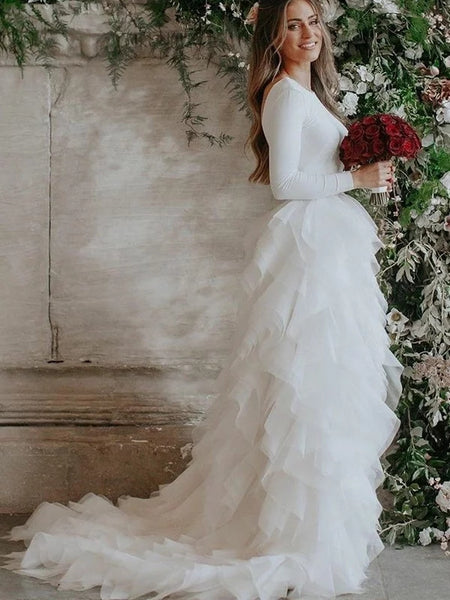 A-line Long Sleeves Backless Tulle Ruffles Wedding Dresses, WD0453