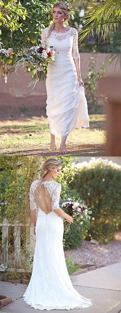 See-though Lace Half Sleeves Open-back Wedding Dresses With Train, WD0452