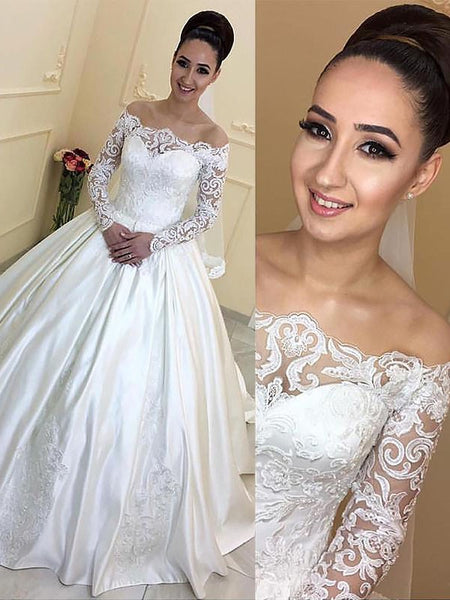 Long Sleeves Off-the-Shoulder Ball Gown Court Train Wedding Dresses, WD0403