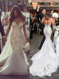 Newest Mermaid Off-the-shoulder Lace Backless Wedding Dresses With Train, WD0404