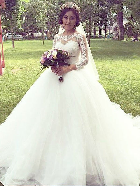 Charming Lace Long Sleeves Princess Ball Gown, Wedding Dresses With Train, WD0408