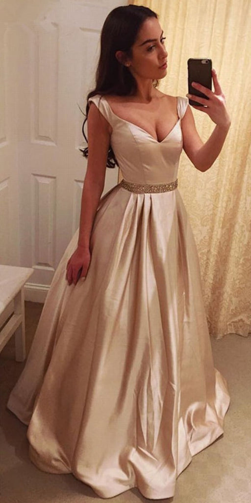 Elegant A-line Cap Sleeves V-neck Beaded Long Prom Dress, PD0608